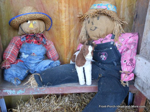brother and sister scarecrows