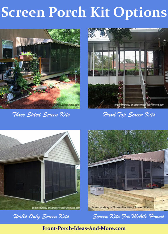 collage showing different screen porch kits options