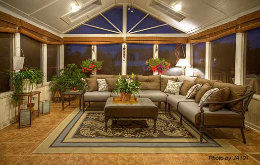 interior of spacious and beautiful screened porch