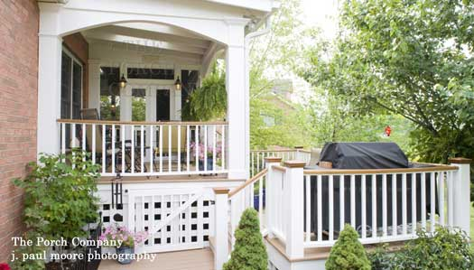 enclosed porch and covered porch combination