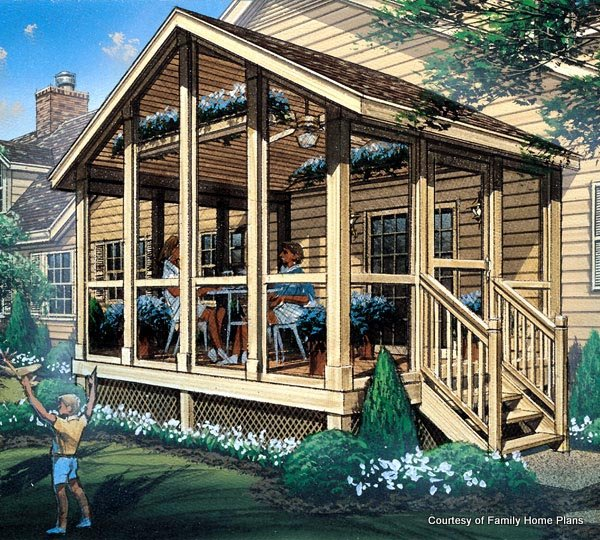 Family Plans Screened Porch Plan #85933