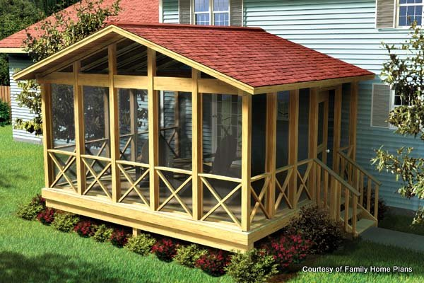 Screened in porch plans to build or modify for House plans with large front and back porches