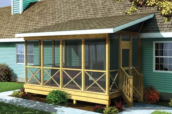 Family Home Plans Screened Porch Plan 90012