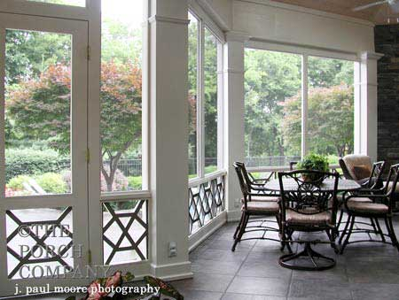 screen porch facing landscaped back yard