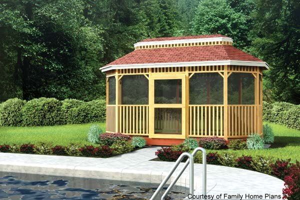 screened gazebo room by Family Home Plans
