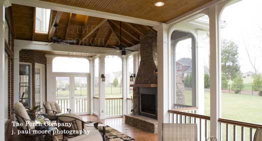 enclosed porch with tongue and groove ceiling