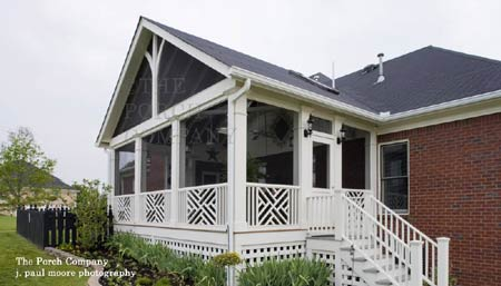 gabled roof enclosure with custom balustrade