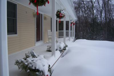 Snowy porch in CT