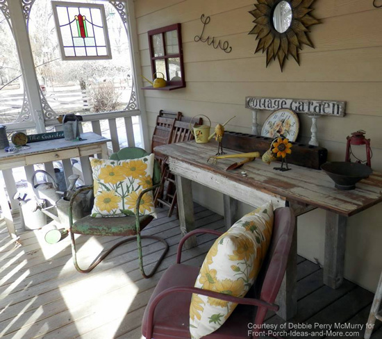 Debbie's side porch includes some wonderful metal vintage chairs