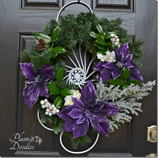 Simple Christmas decorating by Plum Doodles - purple poinsettias wreath