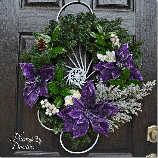 Simple Christmas decorating by Plum Doodles - purple poinsettias wreath