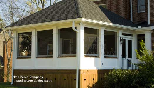 hip roofed enclosure with wood skirting