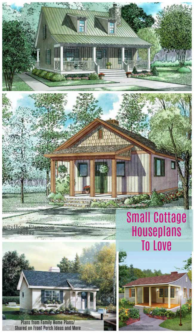collage of small cottage house plans