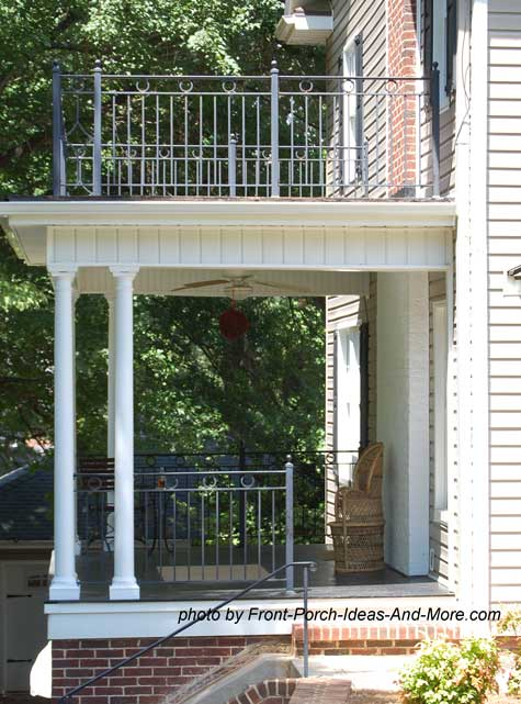 Small front porch with upper and lower porches