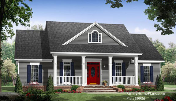 open front porch on small country house plan 59936 by Family Home Plans