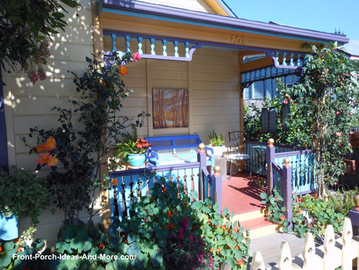 small porch with vivid landscaping
