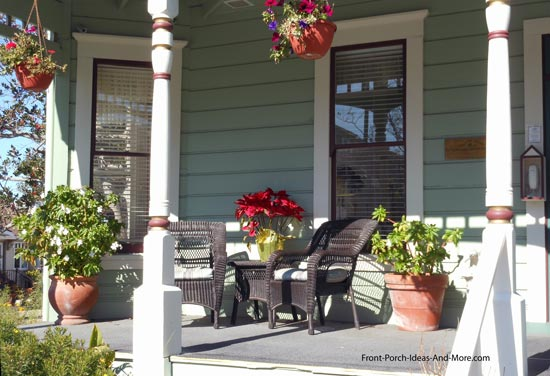 small porch with turned columns