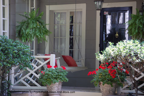 Simple small front porch with chippendale balustrade