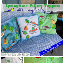 pillow toppers with songbird images