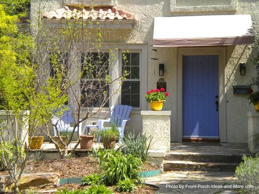 Southwest porch design - beautiful front door color