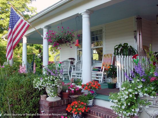 beautiful front porch on the Bed and Breakfast at Prospect Hill