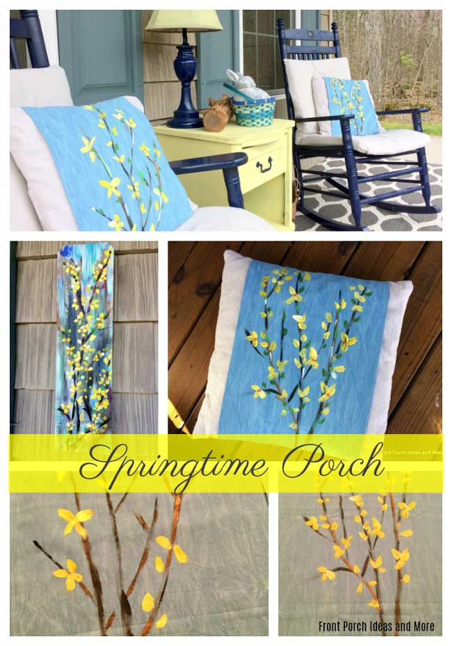Our springtime porch decorated with a forsythia theme