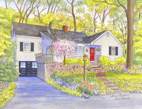 house portrait painting - four seasons - spring - watercolor by Leisa Collins