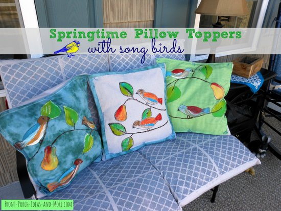 Spring pillow toppers with cute song birds made by painting right onto fabric - actually very easy! Front-Porch-Ideas-and-More.com