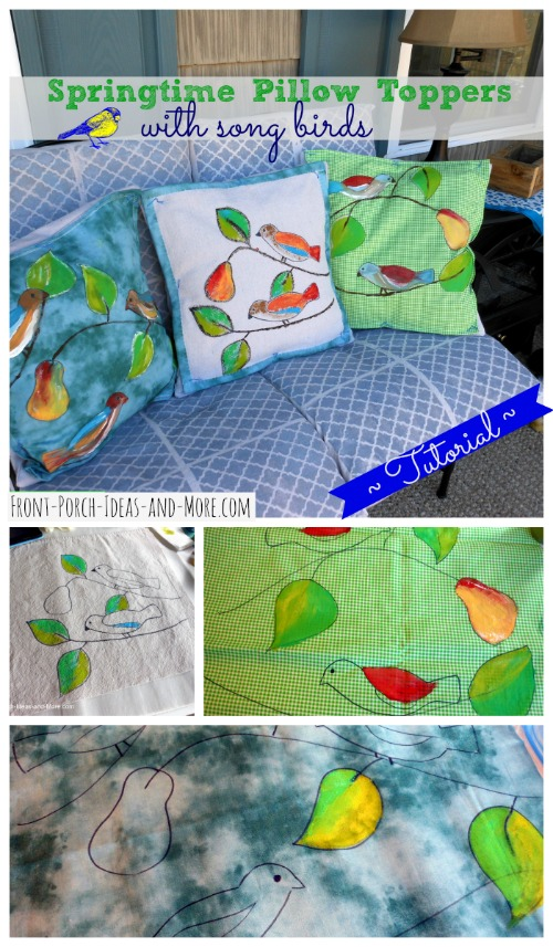 Spring pillow toppers with cute songbirds made by painting right onto fabric - actually very easy! Front-Porch-Ideas-and-More.com