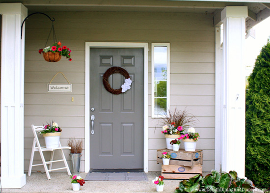 Spring decorating idea using potted plants