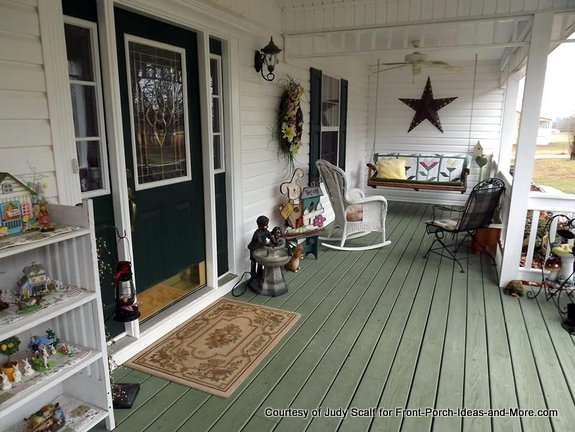 Judy's springtime porch - see the decorative star above her porch swing