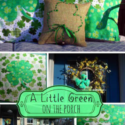 porch decorated for st patricks day with burlap pillows