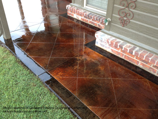 stained concrete porch floor with dark border and diagonal pattern