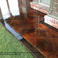 stained porch concrete floor