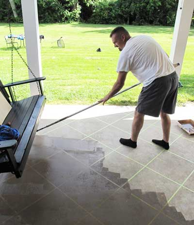 example of man staining concrete floors