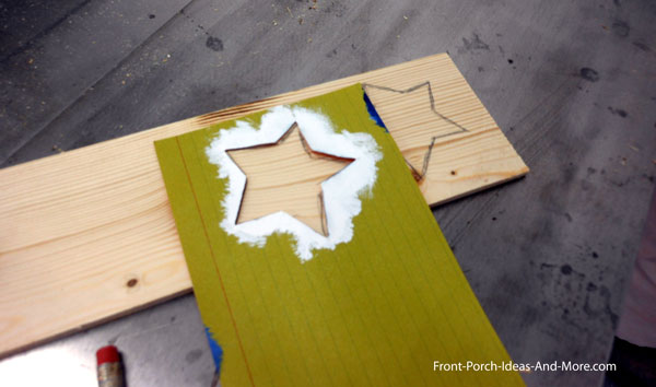 using star stencil on wood for flag