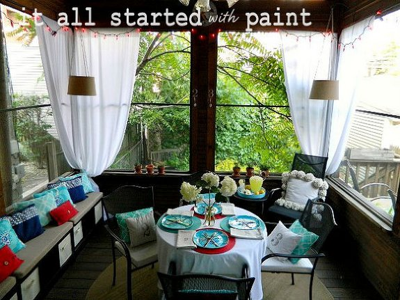 Patriotic colors on Linda's screened porch - refreshing and celebratory! - It All Started With Paint