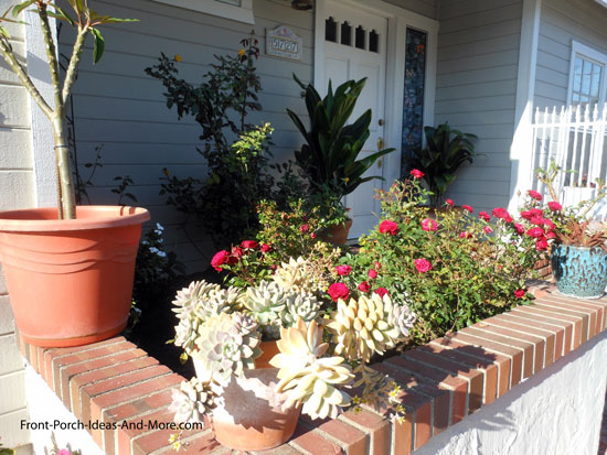 aesthetically pleasing succulent garden in front of porch