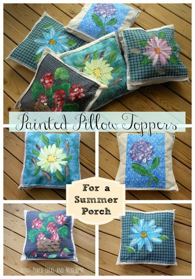 Summer flower pillow toppers at Front-Porch-Ideas-and-More.com