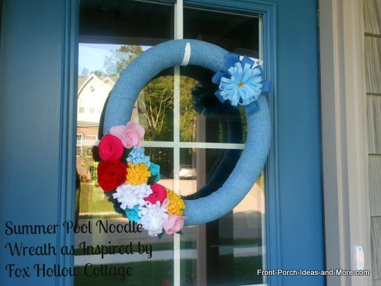 Summer wreath made from pool noodle and felt flowers