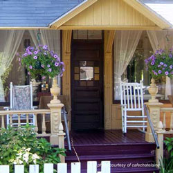 porch decorated in summer colors