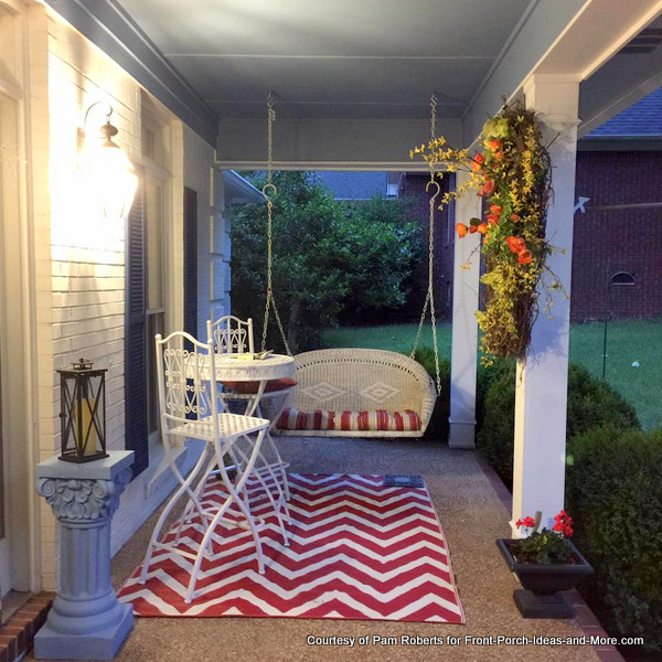 Pam's pretty porch swing and rug