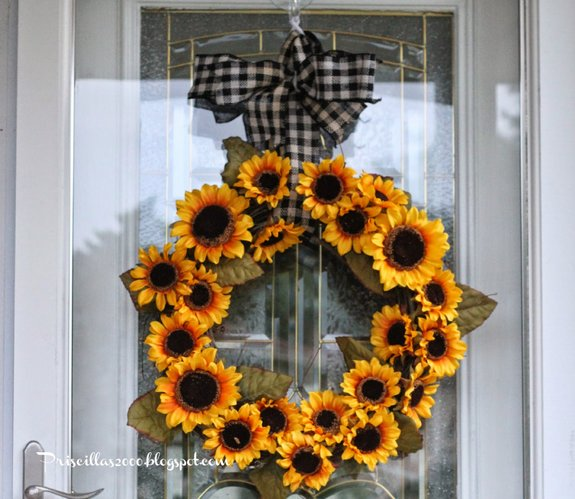 This is the sunflower wreath that Priscilla made