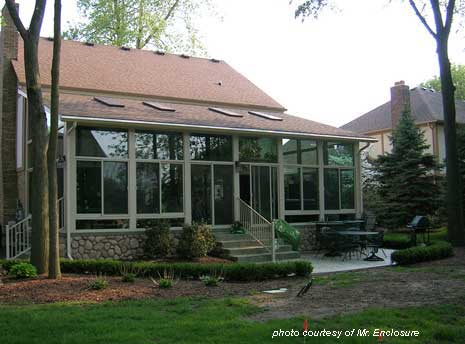 Traditional roof on sunroom