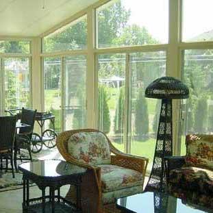 floor to ceiling window panels in sunroom