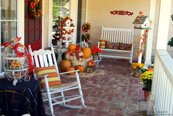 beautiful front porch decorated for fall