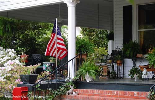 decorated front porch in Tarboro
