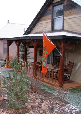 Thanksgiving decorations dusted by snow