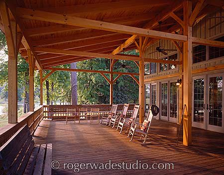 expansive porch with exposed beams  - photo courtesy of Roger Wade Studios