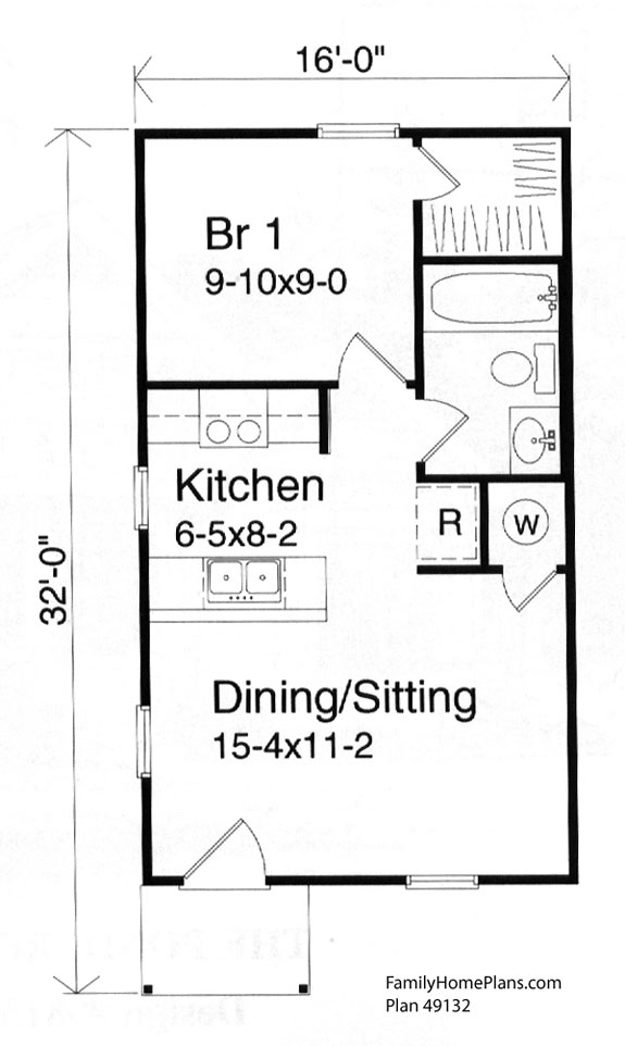 Tiny house floor plan 49132 by Family Home Plans